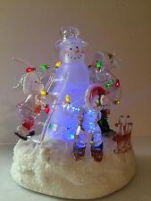 acrylic snowman family light up figurine