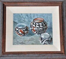 Original Framed Oil Painting of Acoma Pueblo Pottery by Trudia