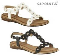 LADIES FLOWER T BAR  Buckle Flat Padded Sandals - White Black - Size 3 4 5 6 7 8