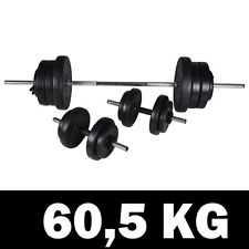 3pc Dumbbell Barbell Weight Set 60.5kg Home Gym Fitness Exercise Adjustable