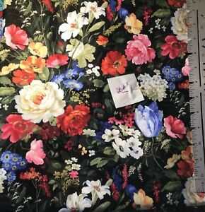 Fabulous Floral on Black Cotton Fabric Cottagecore By the Yard