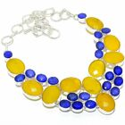"""Yellow Sapphire, Blue sapphire Silver Jewelry Necklace 18"""" MQR-3064"""