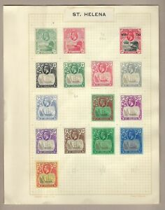 ST. HELENA STAMPS: 1912-1923 King George V MINT STAMPS on Album pages HIGH CAT