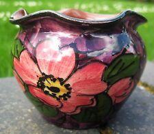 longpark Torquay vase .3 in . crimped top . Wild rose decor . Backstamped Longpa
