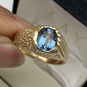 Designer 14k Solid Yellow Gold Blue Topaz Men's Ring Size 9 3/4-10 ~ 7.44GRAMS