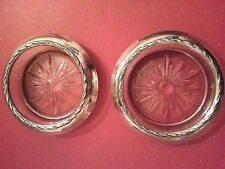 Set of 4 Vintage G.H. French Sterling Silver and Crystal Coasters old