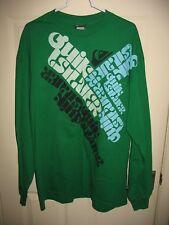 Quiksilver Long Sleeve Graphic Tee Shirt Sz XL Green Crewneck 100% Cotton Mens