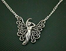 silver tone fairy fae faery necklace Jewellery (N1)