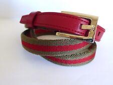 cb3160a6953e Vtg GUCCI Khaki Red Leather Web Stripe Skinny Belt  03714761462 80cm ITALY