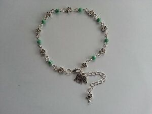 Turquoise Glass Beads Tibetan Silver Flower Beads Elephant Charm Ankle Bracelet