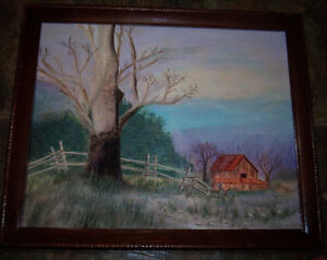 "FOLK ART PRIMITIVE Barn COUNTRY Landscape Painting 16"" x 20"" AMERICANA"