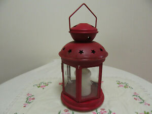 VINTAGE RED HANGING STEEL AND GLASS LANTERN TEALIGHT  CANDLE HOLDER HOME DECOR