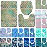 3PCS Mermaid Carpet Rug Set Toilet Cover Lid Non-slip Bathroom Bath Mat Pedestal