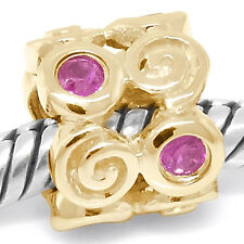 Remo Ruby 9ct 9k 375 Solid Gold Bead Charm Fits Euro Bracelets 30 Day Return