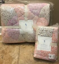 NEW 2PC Pottery Barn Kids Leila Wholecloth TWIN Quilt + EURO Sham PINK