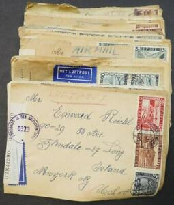 EDW1949SELL : AUSTRIA Collection of 33 Air Mail Censored covers to USA.