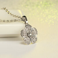 925 Silver 5 Petals Flower Shaped Necklaces CZ Zircon Pendant Valentines Jewelry