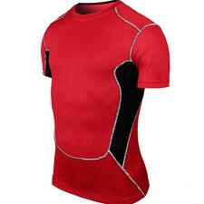 Mens Compression Base Layer Shirt Short Sleeve Workout Fitness Jogger T-shirt