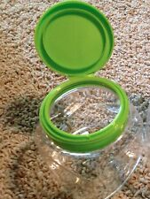 Lot 12 small green containers lid plastic clear parts supplies crafts office art