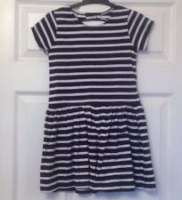 Young Girls - Pretty Navy Blue Striped Cotton Summer TU Dress - Size 6 Years