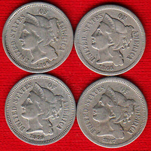 1865, 1866, 1867 & 1869 3 Cent Nickels