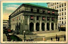 """Charleston, West Virginia Postcard """"Post Office and Federal Building"""" c1930s"""