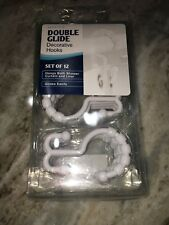 Maytex Set of 10 White Double Glide Shower Curtain Ring Hooks. New