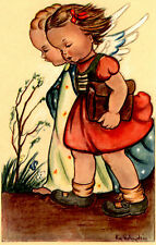 "Vintage Netherlands Postcard Young Girl & an Angel 3.5"" x 5.5"""