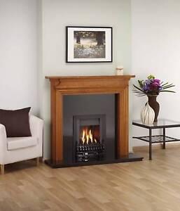 Ekofires 3010 Living Flame Gas Fire Black 'Blenhiem' Slimline Gas Fire