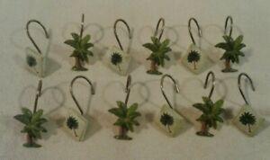 "Set of 12 Tropical ""PALM TREE"" resin & ceramic shower hooks - NICE"