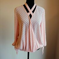 NWOT Anthropologie Doe Rae Pink Boho Wrap Peasant Top Size Medium