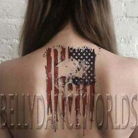 Skull head and USA Flag United States US temporary tattoo tatouage body sticker