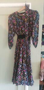 Deadstock Vintage 80s Diane Freis Black Beaded Long 100% Silk Dress