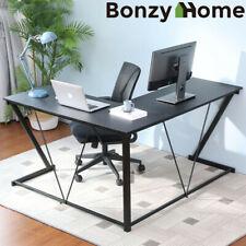 L-Shape Corner Computer Desk Mdf Laptop Pc Table Workstation Study Home Office