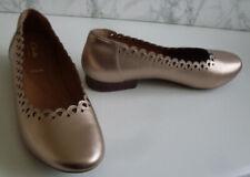 CLARKS Gold Metallic Ballet Pump Court Low Heels Flat Shoes Wide Size UK 8 EU 42