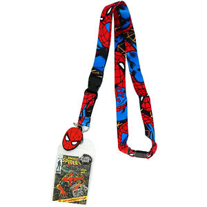 Marvel Spider-Man Lanyard with Sticker ID Badge Holder & PVC Head Charm Official
