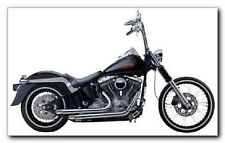 """SANTEE CHROME EXHAUST PIPES 2-1/4"""" HARLEY SOFTAIL FXST FXSTC FXSTD DEUCE 86-11"""