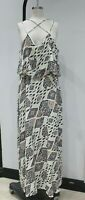 Vince Camuto IKAT Sleeveless criss cross maxi dress layered womens 14 rayon line