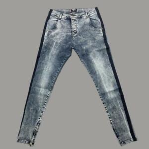 Mens Sik Silk Siksilk Skinny Stretch Denim Jeans GREY / BLACK MEDIUM W32 L31 L16