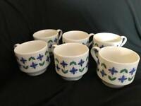 VINTAGE MIDWINTER ROSELLE 6 X TEA CUPS