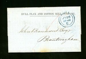 Hull Flax and Cotton Mill Co. 1848 Cover to Brantingham, E. Yorkshire   (O520)