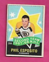 1968-69 OPC # 208 BRUINS PHIL ESPOSITO AS GOOD  CARD  (INV# D3691)