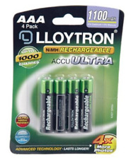 Lloytron AAA High Capacity 1100 mAh Rechargeable Batteries Pack of 4