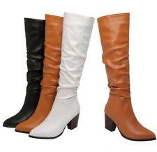 44/45/46 Women Smart Outdoor Street Pattern Block Heel Pull On Mid Calf Boots L