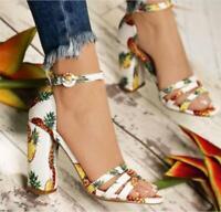 Womens Sandals Peep Toe Boho Pineapple Print High Heel Shoes Casual Pumps Beach