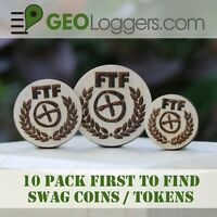 *NEW* 10 x Wooden FTF First to Find Geocache Prize / Swag Coins (10 Pack)