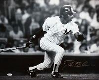 Deion Sanders Autographed 16x20 B&W Swinging Yankees *Silver Photo- JSA W Au