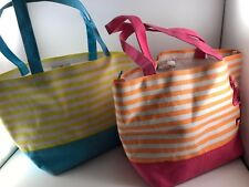PAIR OF QUACKER FACTORY CANVAS TOTE BAGS OR HANDBAGS (PINK & TURQUOISE)