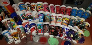 Lot x 39 Vintage McDonalds Hardees Taco Bell 7UP Plastic Souvenir Cups MJ Batman