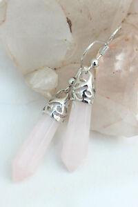PINK AGATE CHAKRA Drop EARRINGS Hexagon Healing REIKI Crystal Gemstone